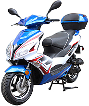 "ROKETA ARROW-50 Moped Scooter Fully Automatic, LED Style Lights, High Performance Forks & Shocks, 12"" Big Tires (MC-131-50). Free shipping to your door with a free helmet."
